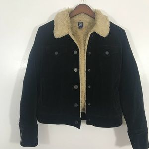 Gap black Sherpa lined suede jacket